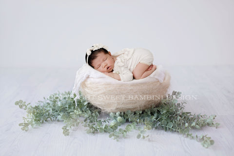 Organic Newborn Digital Backdrop - Simple white nest with eucalyptus