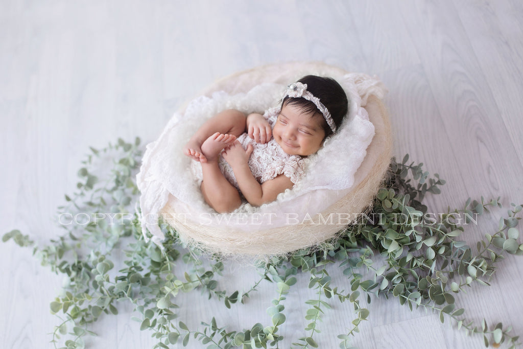 Newborn Digital Backdrop - Simple organic white nest with eucalyptus - shot from side
