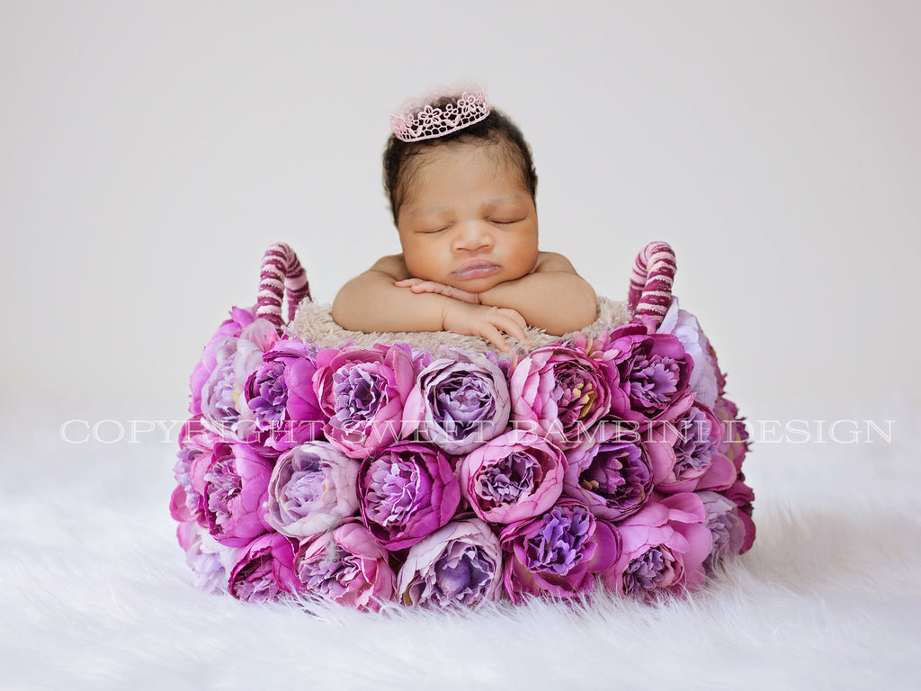 Digital Backdrop for Newborn Photography - Violet and Purple Peony Basket