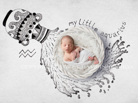 Horoscope newborn digital backdrop - AQUARIUS baby, white basket