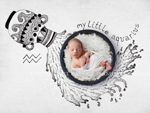 Horoscope newborn digital backdrop - AQUARIUS baby, black bowl