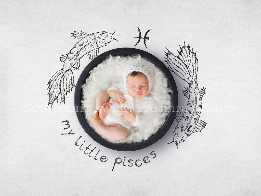 Horoscope newborn digital backdrop - PISCES - zodiac digital with a black bowl- instant download