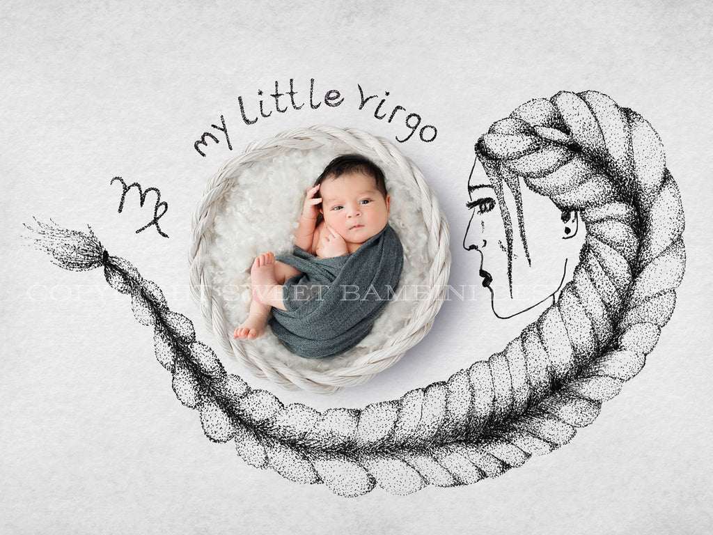 Horoscope newborn digital backdrop - VIRGO - zodiac digital with a white basket- instant download