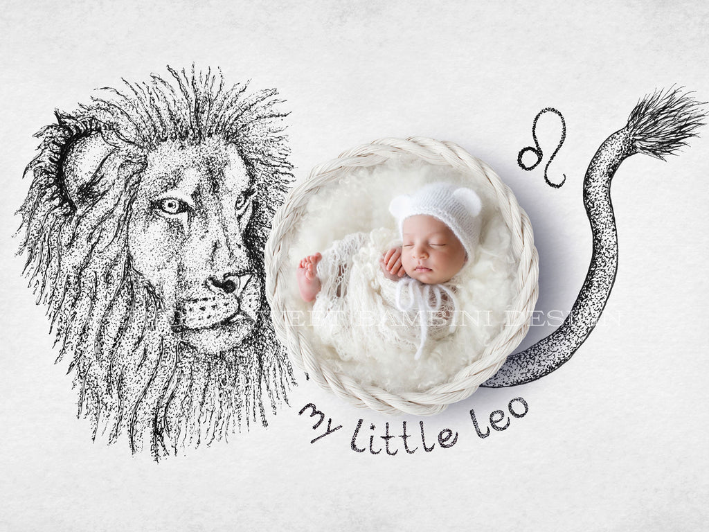 Horoscope newborn digital backdrop - LEO - zodiac digital with a white basket- instant download