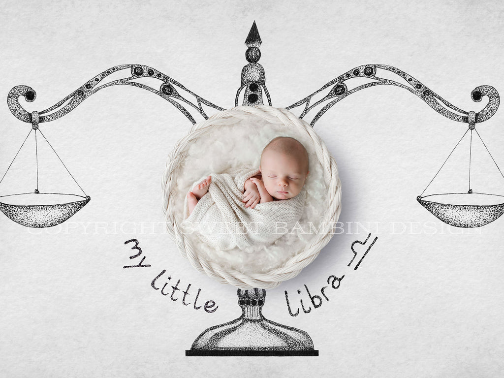 Horoscope newborn digital backdrop - LIBRA - zodiac digital with a white basket- instant download