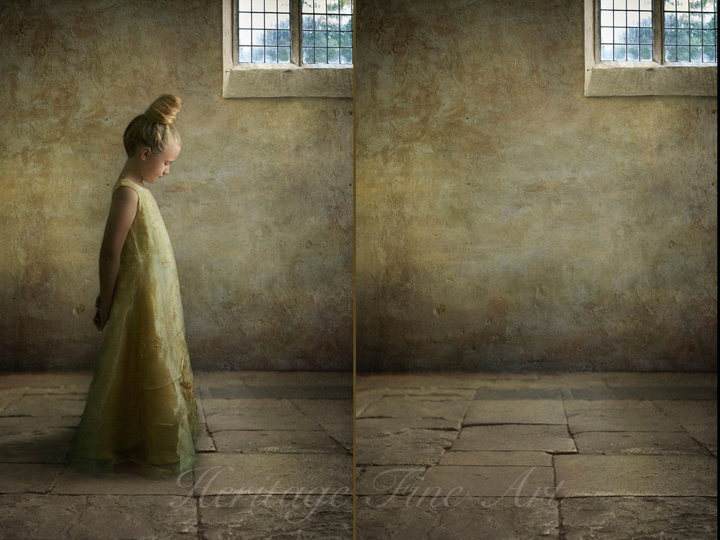 Vintage Digital Backdrop - Stone wall and floor with window detail