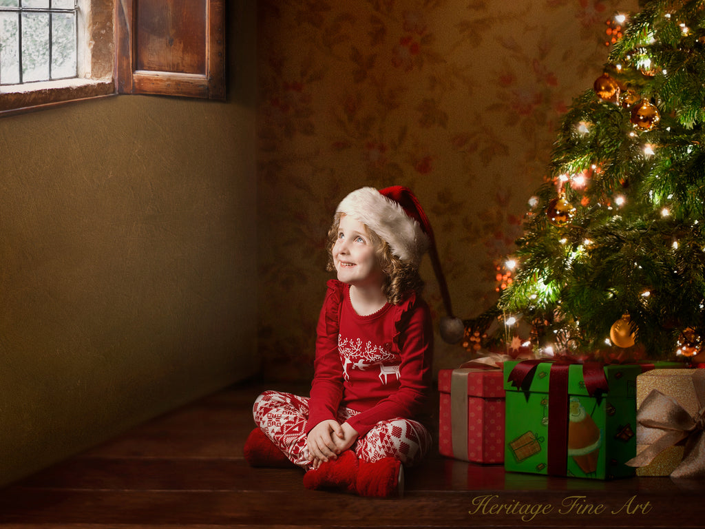 Christmas Digital Backdrop - Christmas tree and presents