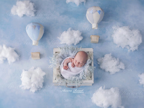 Newborn Digital Backdrop - Hot air balloons and fluffy clouds - UP