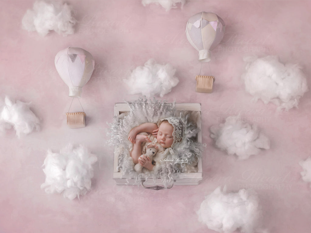 Newborn Digital Backdrop - Fluffy clouds and hot air balloons