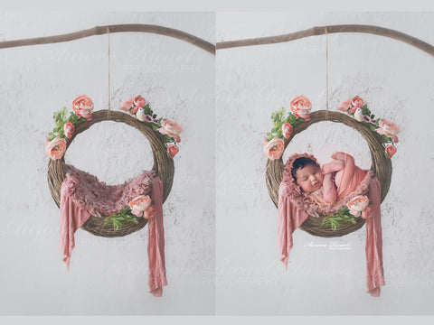 Newborn Digital Backdrop - Beautiful rose swing