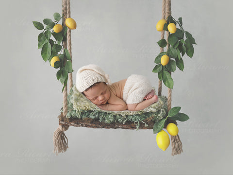 Newborn Digital Backdrop - Natural Lemon Swing