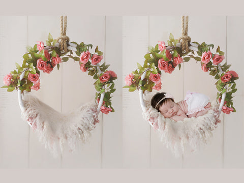 Newborn Digital Backdrop - Hanging wreath decorated with pink roses