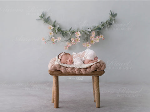 Newborn Digital Backdrop - Rustic wooden stool with braided pink wrap and white wool insert