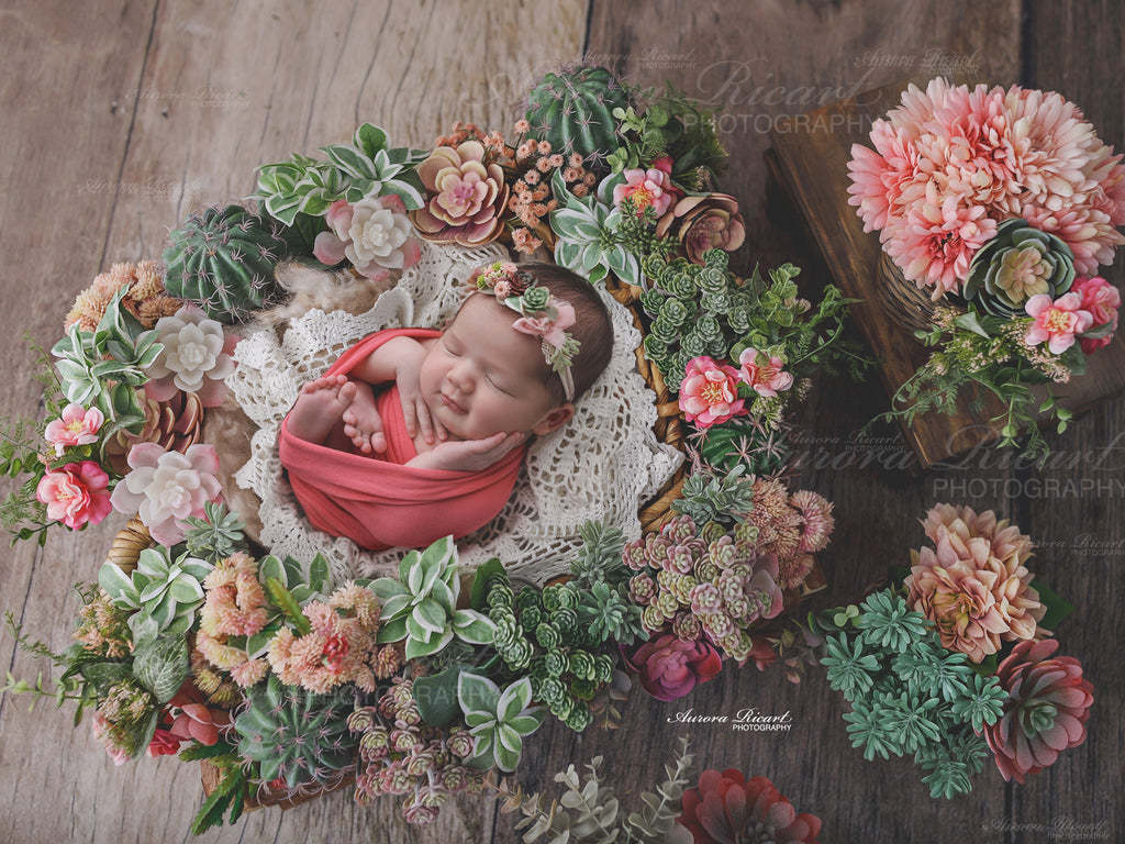 Newborn Digital Backdrop - Succulent floral display on a wood effect background