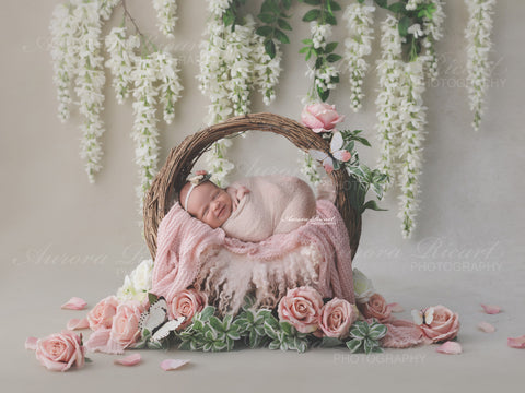 Newborn Digital Backdrop - Wicker wreath decorated with flowers and white wisteria