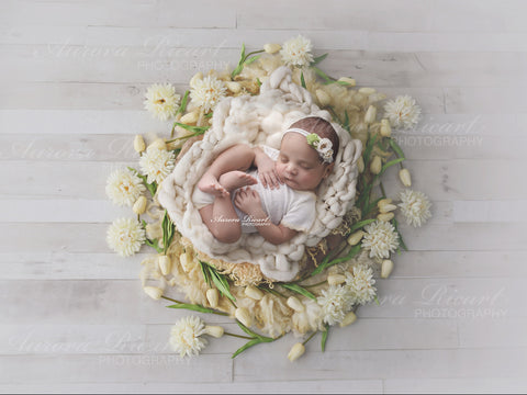 Newborn Digital Backdrop - Floral basket with tulips