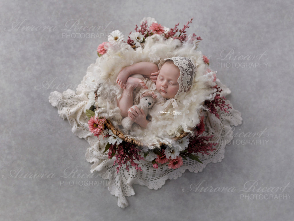 Newborn Digital Backdrop - white basket with lace wrap with reddish flowers