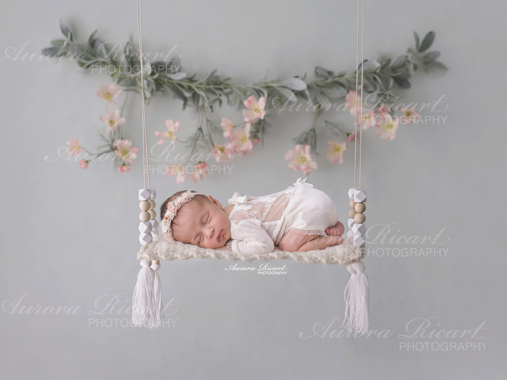 Newborn Digital Backdrop - Simple swing with pretty flowers
