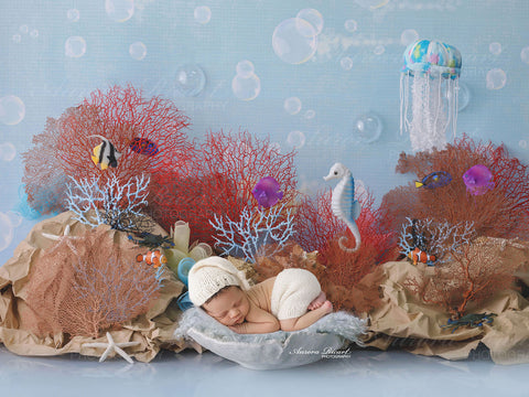 Newborn Digital Backdrop - Under the sea