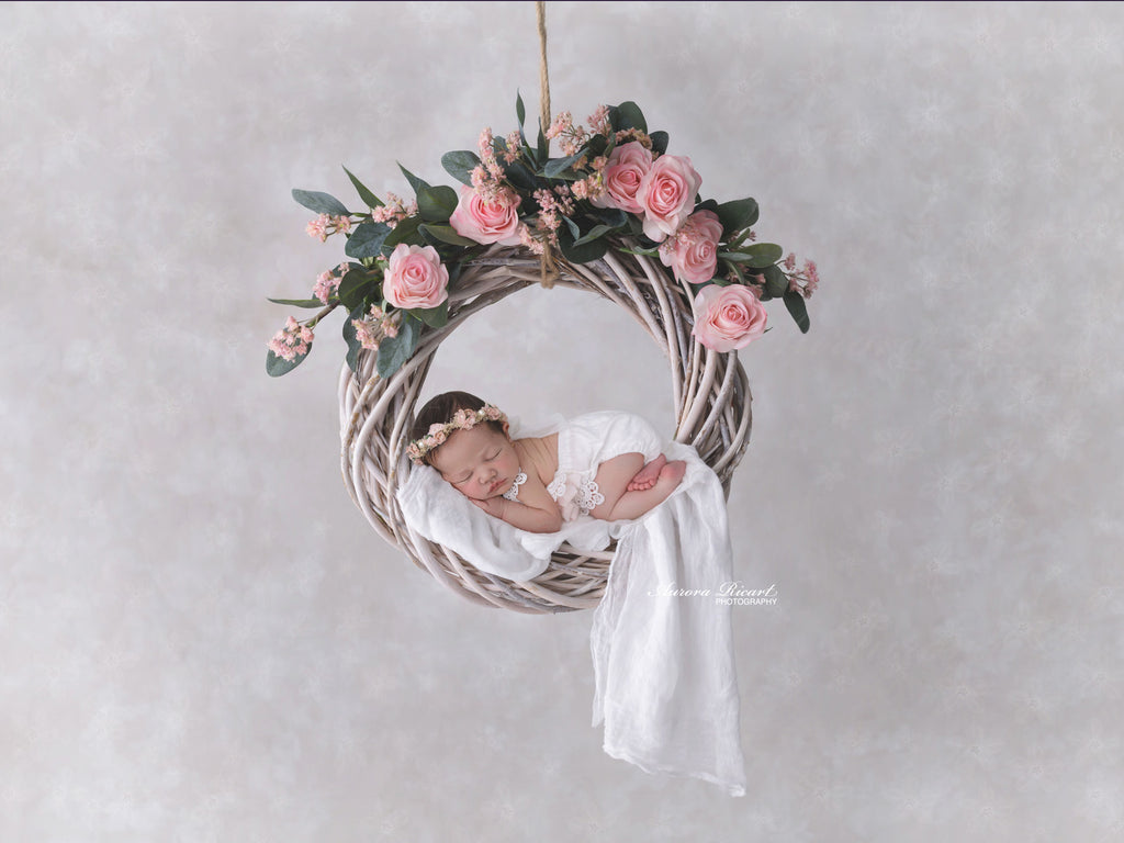 Newborn Digital Backdrop - Beautiful Pink Rose Swing