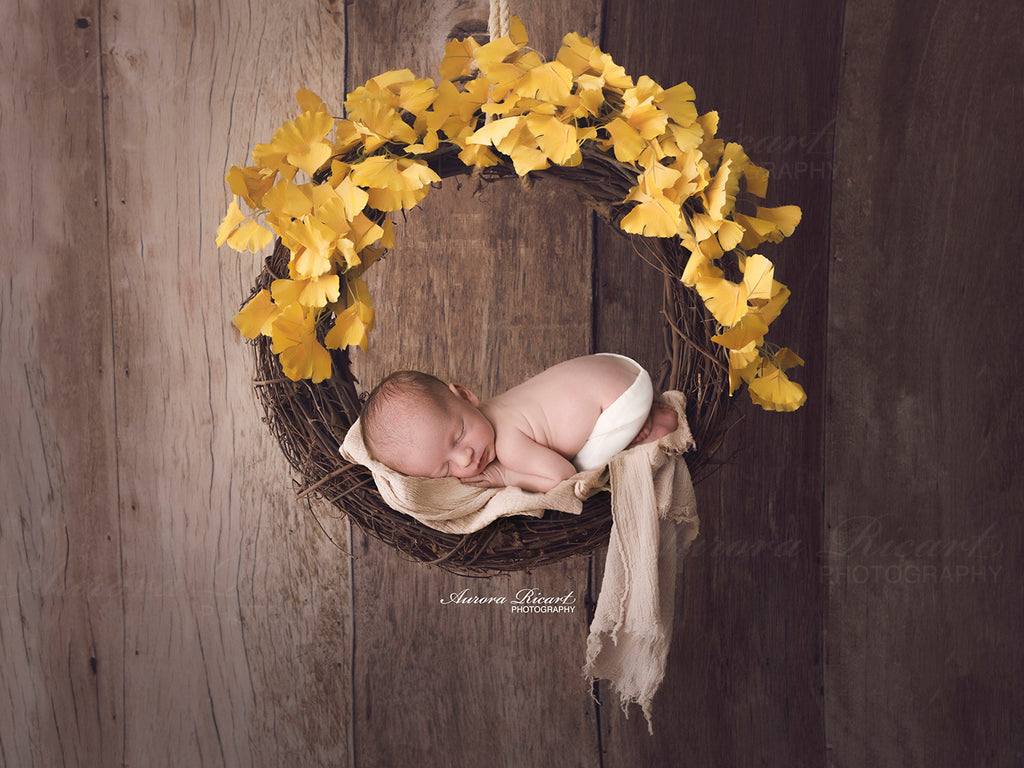 Newborn Digital Backdrop - Beautiful hanging wreath with yellow flowers