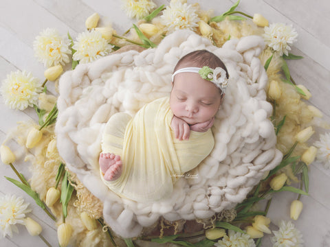 Newborn Digital Backdrop - Yellow Spring Flowers