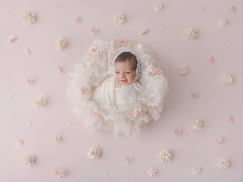 Newborn Digital Backdrop - Pale Pink Flowers
