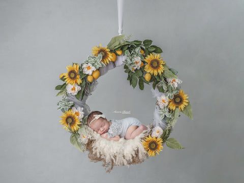 Newborn Digital Backdrop - Sunflowers and Lemons