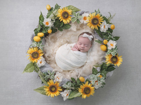 Newborn Digital Backdrop - Sunflowers and Lemons-Wreath
