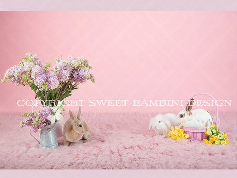 Sitter Digital Backdrop - Real Bunnies and Fresh Flowers