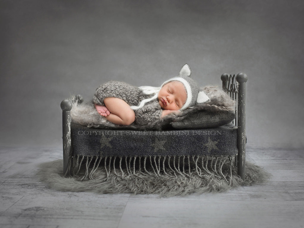 Newborn Digital Background - Little Grey Bed shot with Natural Light