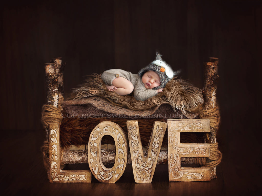 Newborn Photography Digital Backdrop  - Rustic Love Bed