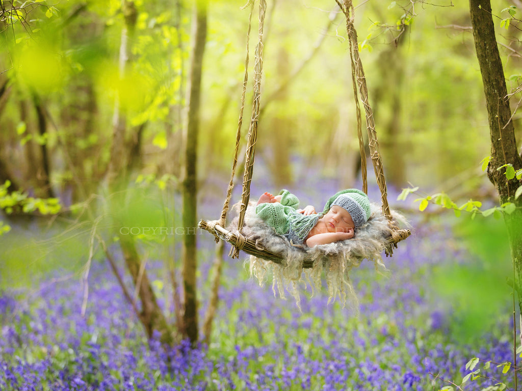 Outdoor Newborn Digital Background - Willow Swing in Bluebell Woods