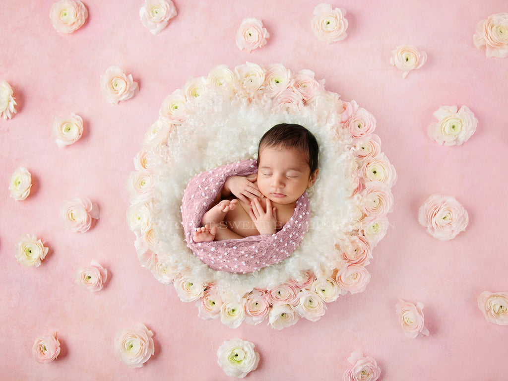 Newborn Digital Backdrop - Spring/Easter Nest Fresh Flowers - Izzie - PROMO!