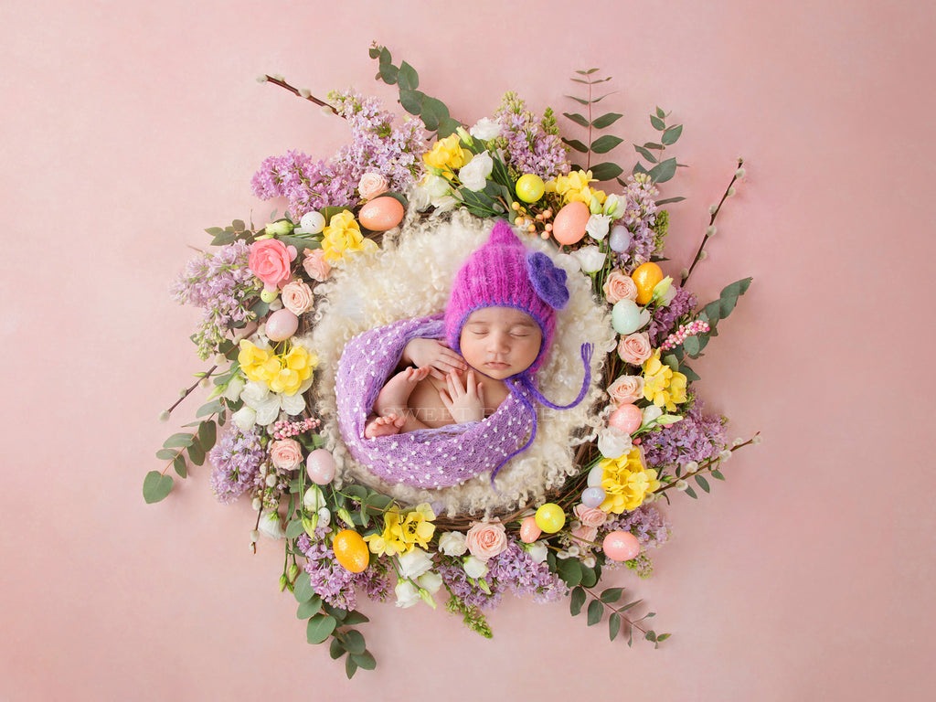 Newborn Digital Background for Girls - Pink Easter Nest - Fresh Flowers / Easter Eggs