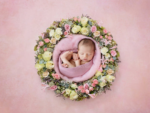 Newborn Digital Backdrop - Lily Flower Basket