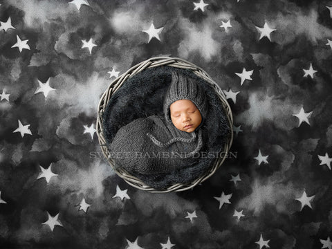 Newborn Digital Backdrop for boys and girls - Starry Grey Sky, with dark nest