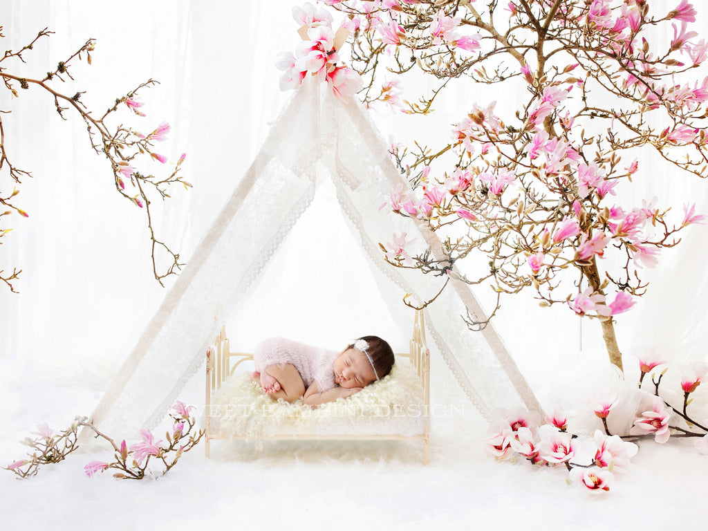 Newborn Digital Background for girls - Magnolia Tepee