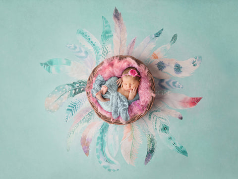 Newborn Digital Background for girls - Boho Girl