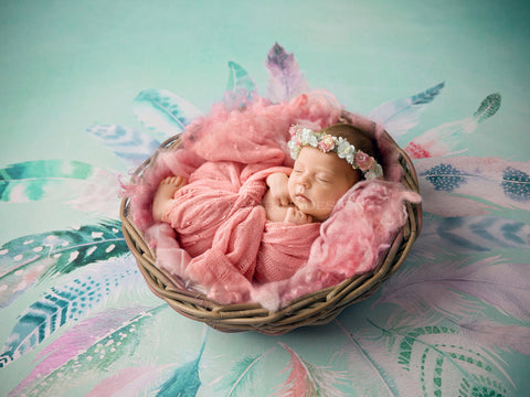 Newborn Digital Background for girls - Pink Nest on Feather Background - Side lit Boho girl