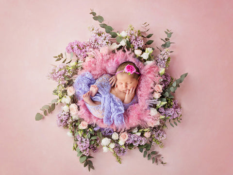 Newborn Digital Backdrop - instant download - Lila flower nest