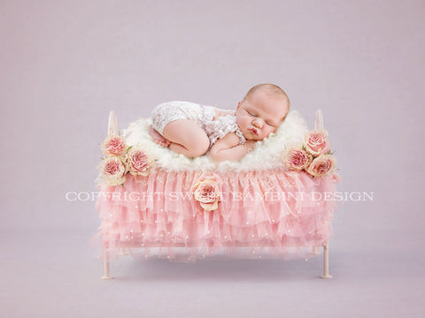 Newborn Digital Backdrop - Little vintage bed with pink lace and pink flowers