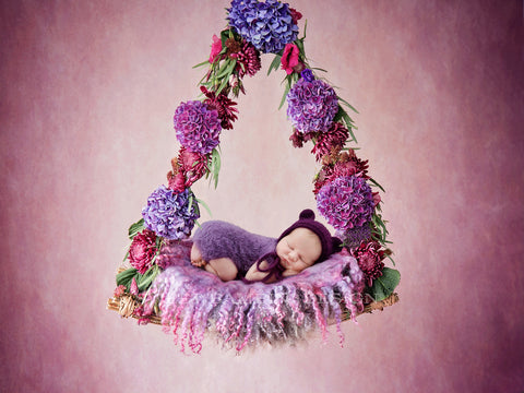 Newborn digital backdrop - Floral Swing in shades of purple