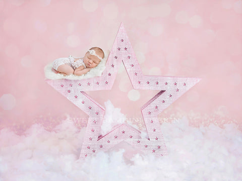 "Newborn Digital Backdrop for girls - ""Wish upon a star"" in pink"