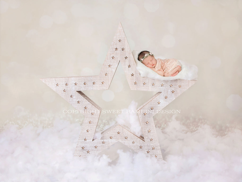 "Newborn Digital Backdrop for girls or boys - ""Wish upon a star"" in cream"
