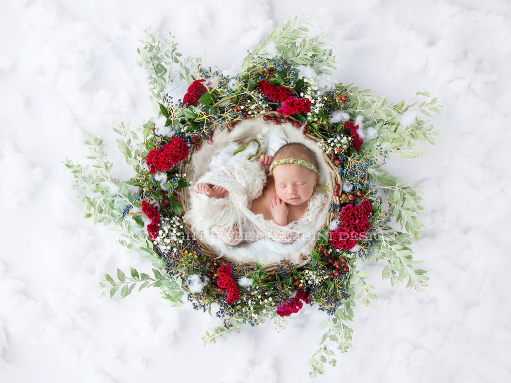 Christmas digital backdrop - Beautiful Christmas Basket for boys or girls