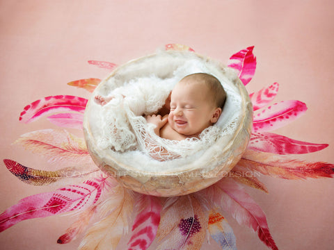Newborn Digital Background for girls - White Bowl on Pink Feather Background