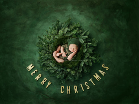 Christmas digital backdrop - Beautiful Christmas wreath for boys or girls