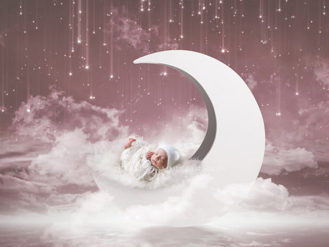 Moon Digital Backdrop for Newborns, pink