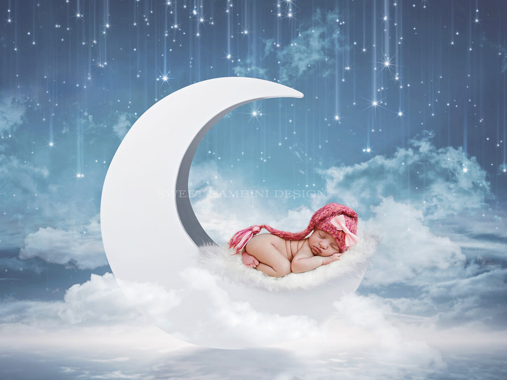 Newborn Digital Backdrop - Moon on blue sky